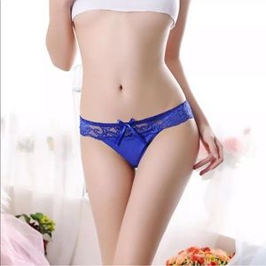 Justine's Chic Boutique Intimates & Sleepwear - Sexy Blue Lace Cutout Style Thong Panties